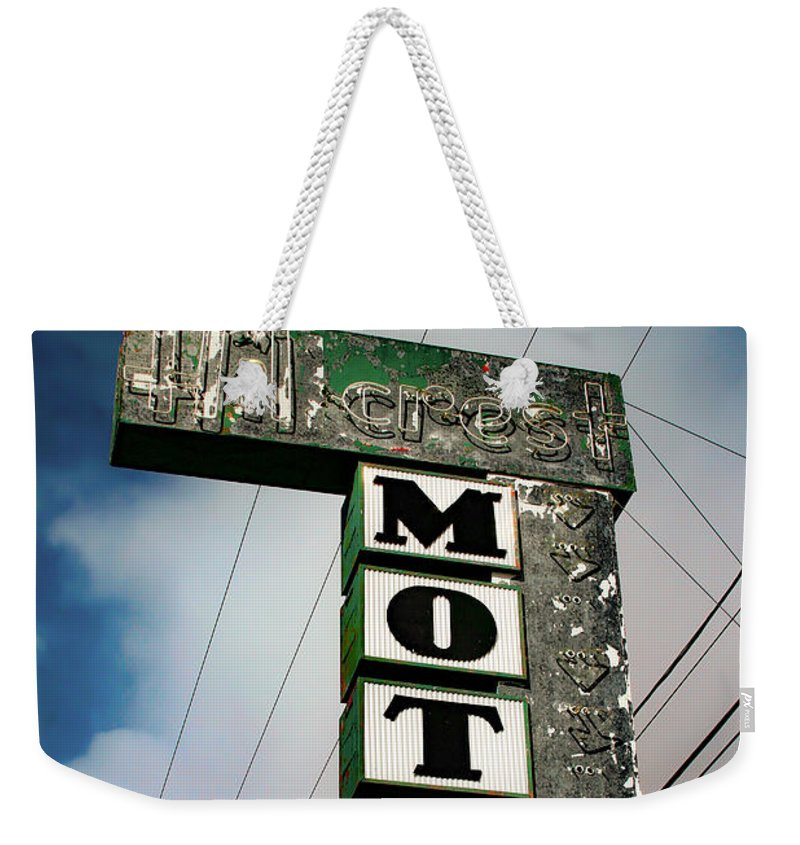 Hillcrest Motel Weekender Tote Bag featuring the photograph Hillcrest Motel by Bonnie Follett