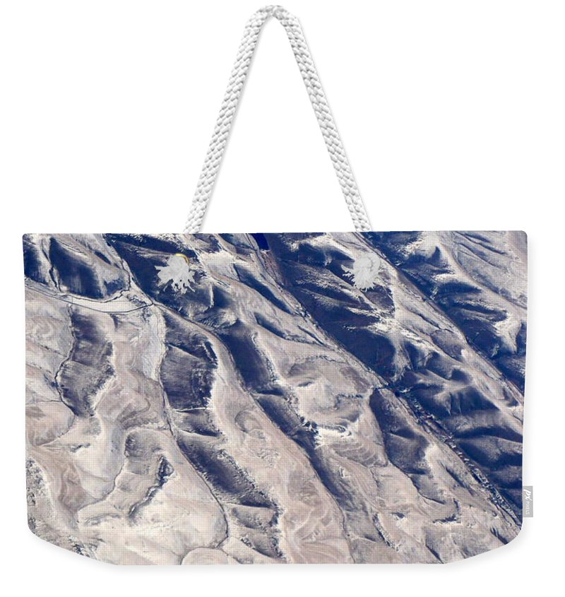 Aerial Weekender Tote Bag featuring the photograph Hills And Valleys Aerial by Carol Groenen