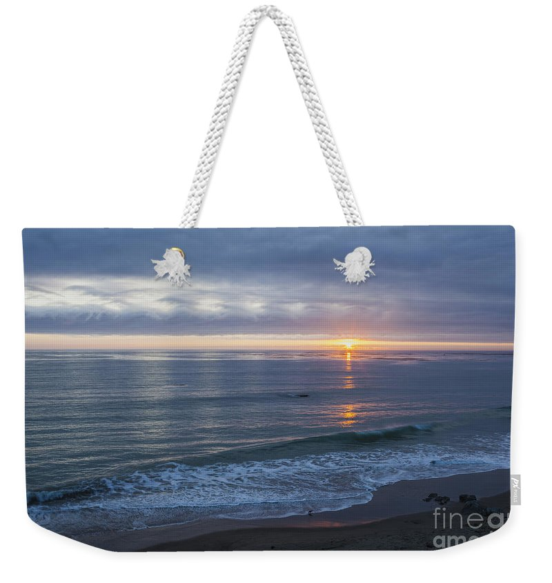 Clouds Weekender Tote Bag featuring the photograph Hills Of Clouds With Ocean Sunset by Sharon Foelz