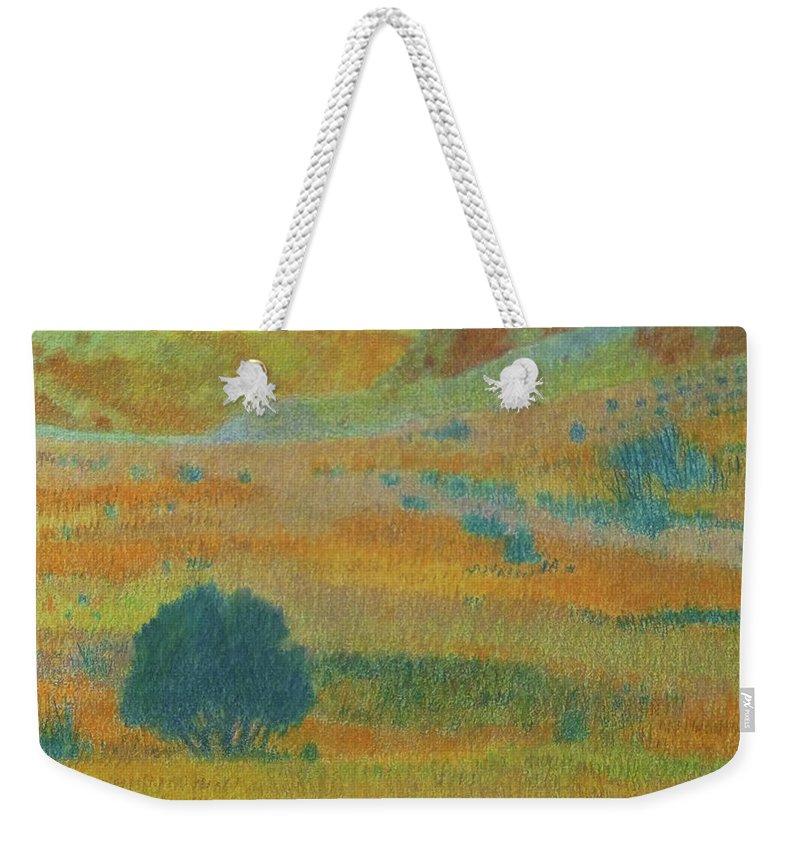 North Dakota Weekender Tote Bag featuring the painting Hills Of Dakota Dream by Cris Fulton