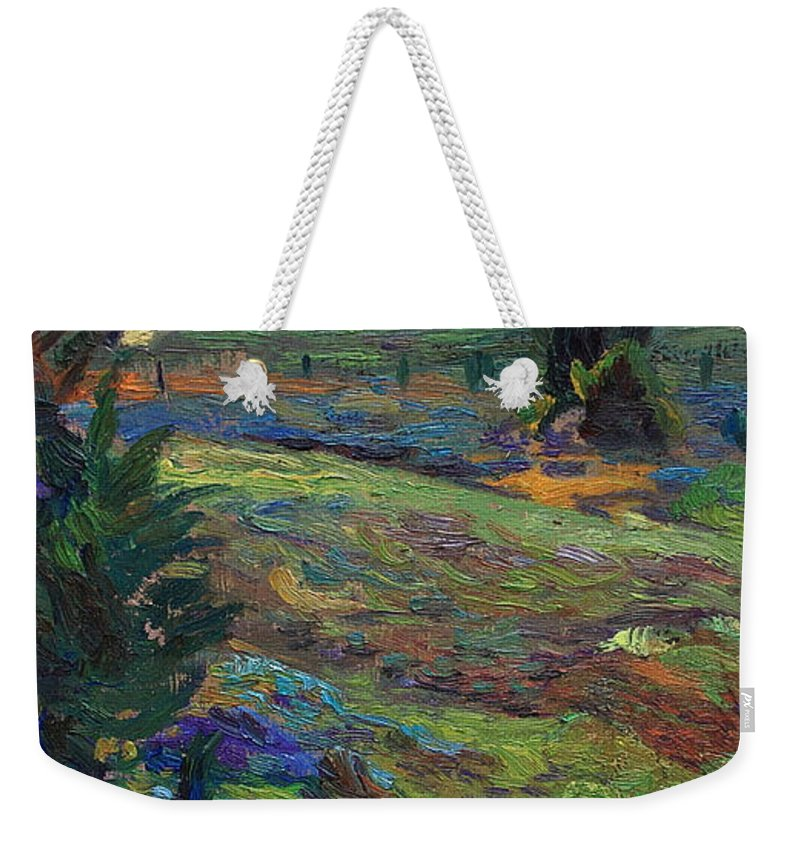 Blue Bonnets Weekender Tote Bag featuring the painting Hills Of Joy by Maris Salmins