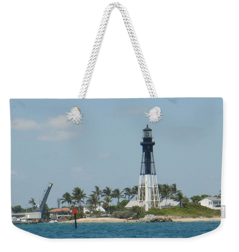 Lighthouse Weekender Tote Bag featuring the photograph Hillsborough Light by Donna Walsh