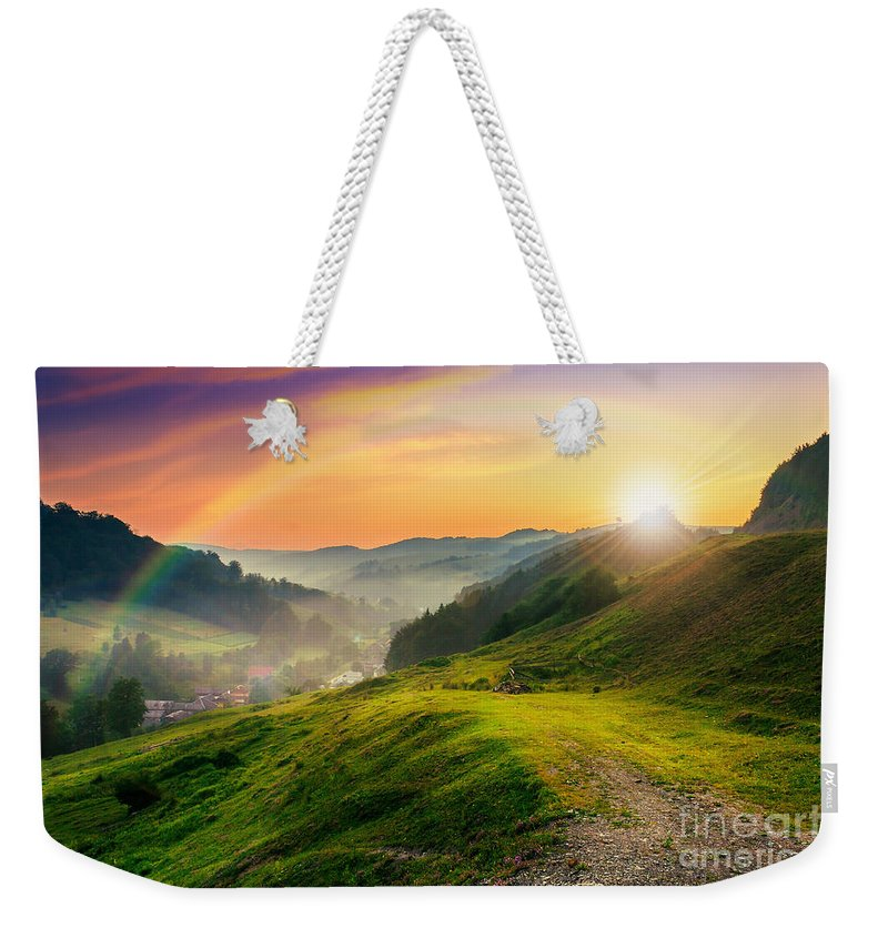 Landscape Weekender Tote Bag featuring the photograph Hillside Near The Village In Morning Mist by Michael Pelin