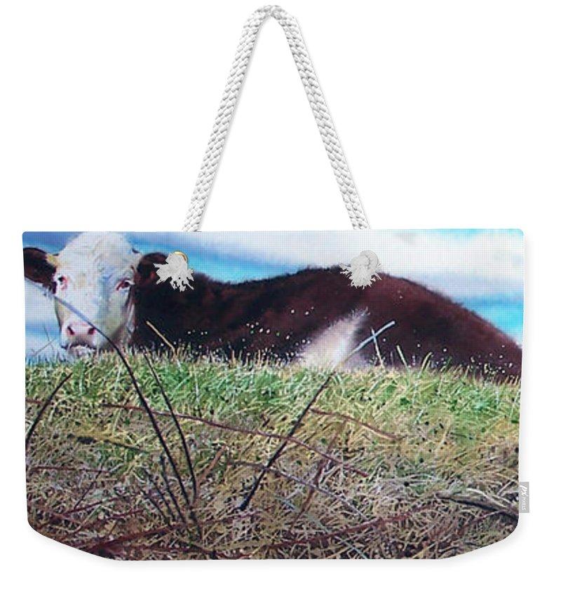 Steers Weekender Tote Bag featuring the painting Hillside Retreat by Denny Bond