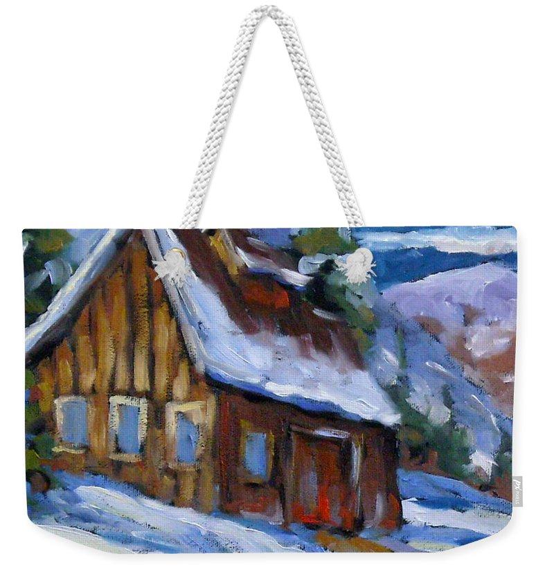 Art Weekender Tote Bag featuring the painting Hillsidebarn In Winter by Richard T Pranke