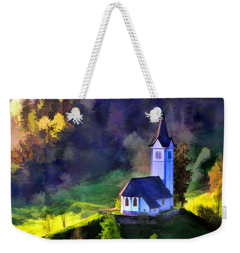 Landscape Weekender Tote Bag featuring the painting Hilltop Church In Misty Mountain Forest by Elaine Plesser