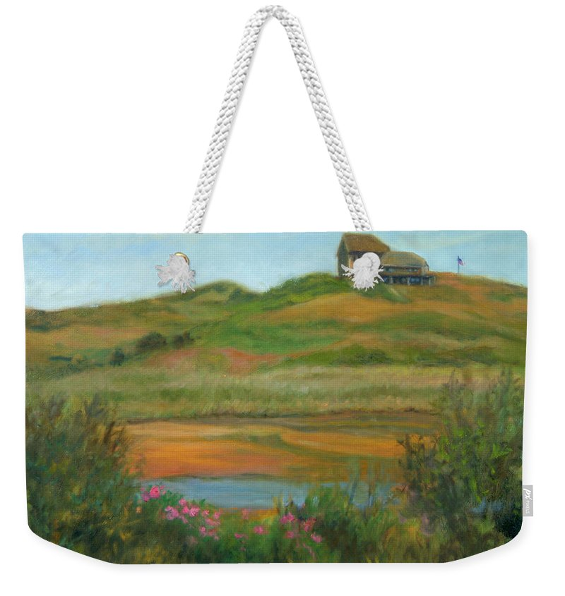 Landscape Weekender Tote Bag featuring the painting Hilltop Houses Cape Cod by Phyllis Tarlow
