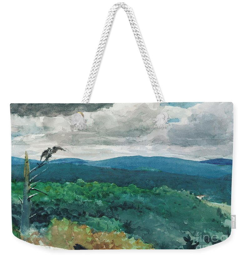Hilly Landscape Weekender Tote Bag featuring the painting Hilly Landscape by Winslow Homer