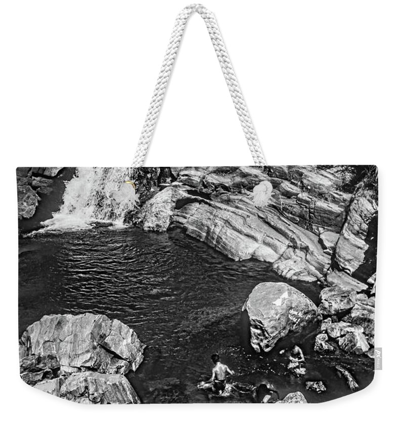 Steve Harrington Weekender Tote Bag featuring the photograph Himalayan Bath Bw by Steve Harrington