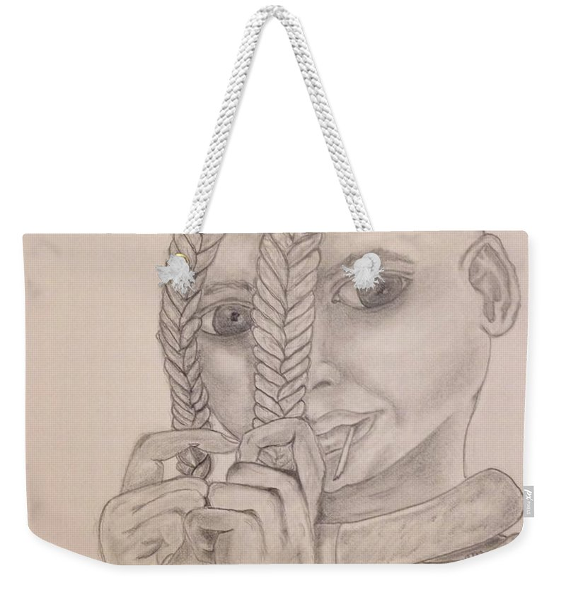 Himba Weekender Tote Bag featuring the drawing Himba Girl In Nambia by Susan Cliett