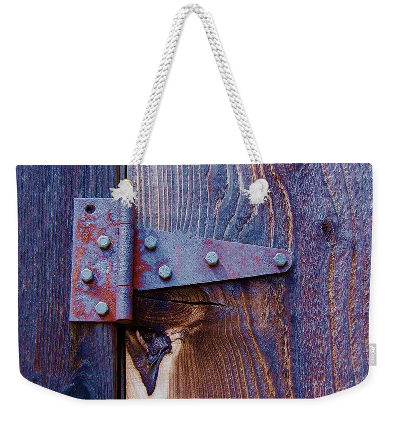 Hinge Weekender Tote Bag featuring the photograph Hinged by Debbi Granruth