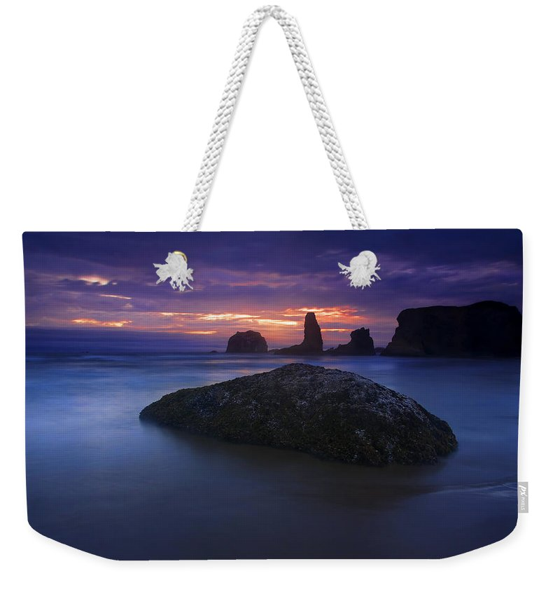 Sunset Weekender Tote Bag featuring the photograph Hint Of Light by Mike Dawson