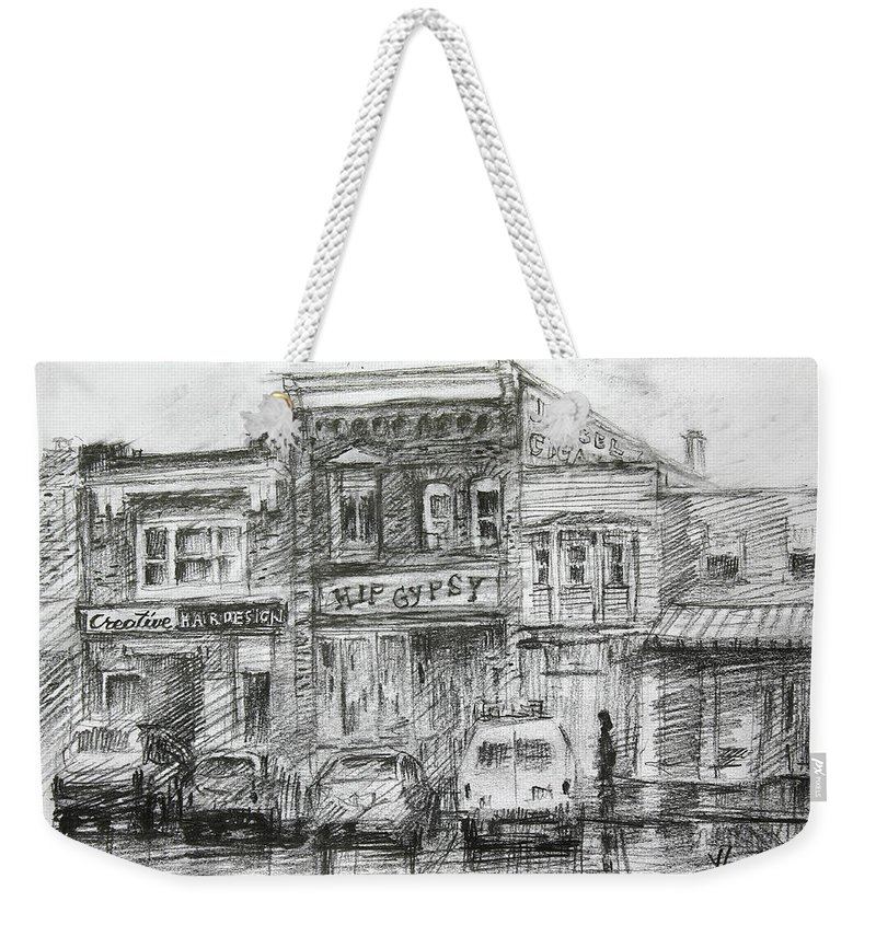 Hip Gypsy Weekender Tote Bag featuring the drawing Hip Gypsy North Tonawanda by Ylli Haruni