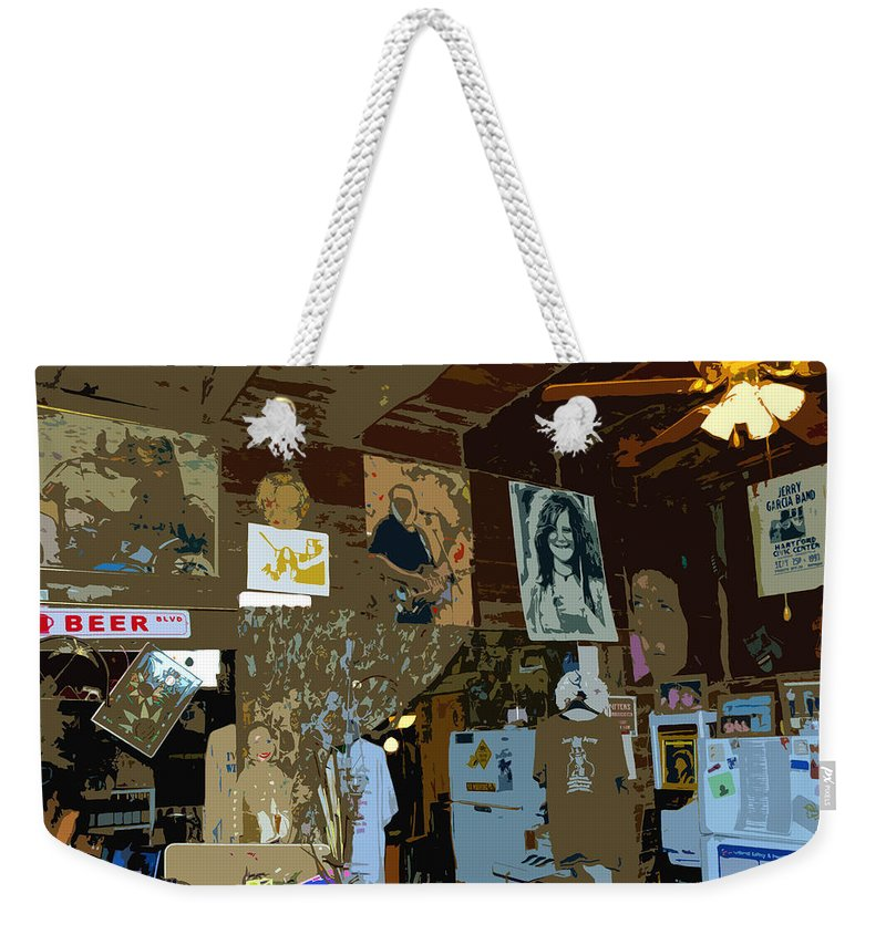 Hippies Weekender Tote Bag featuring the painting Hippie Hang Out by David Lee Thompson