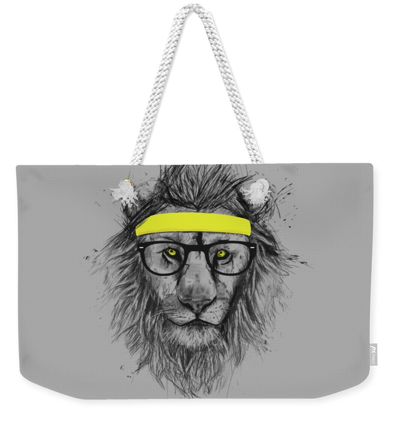 Lion Weekender Tote Bag featuring the drawing Hipster lion by Balazs Solti