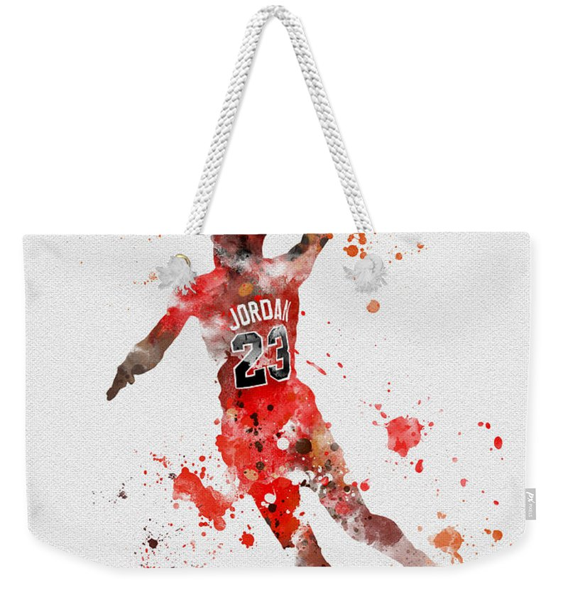 Michael Jordan Weekender Tote Bag featuring the mixed media His Airness by Rebecca Jenkins