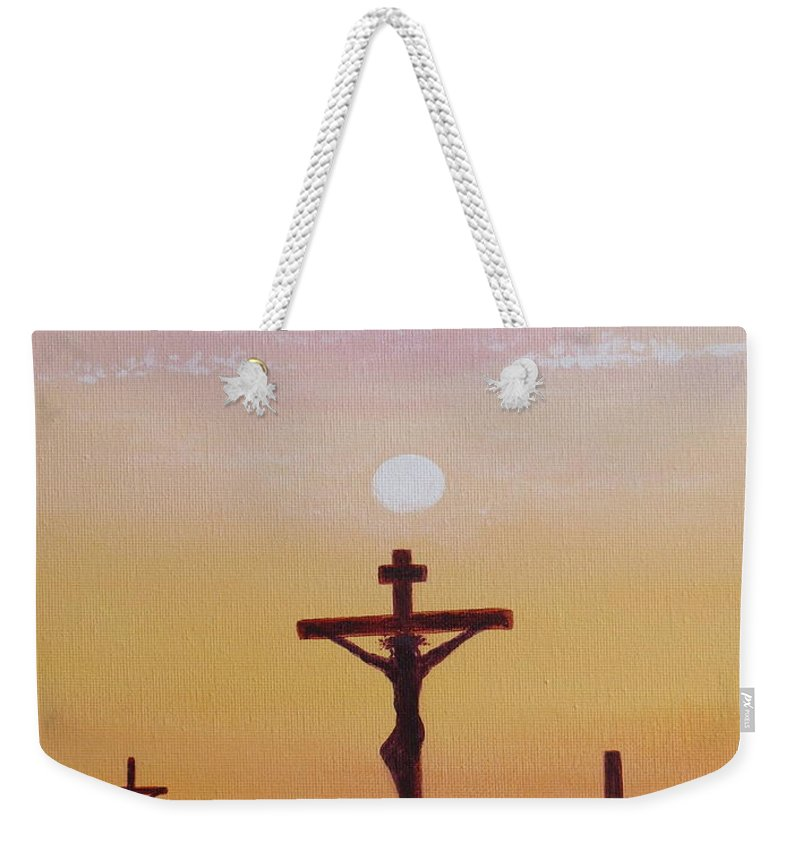 Aimee Mouw Weekender Tote Bag featuring the painting His Death Was Only The Beginning by Aimee Mouw