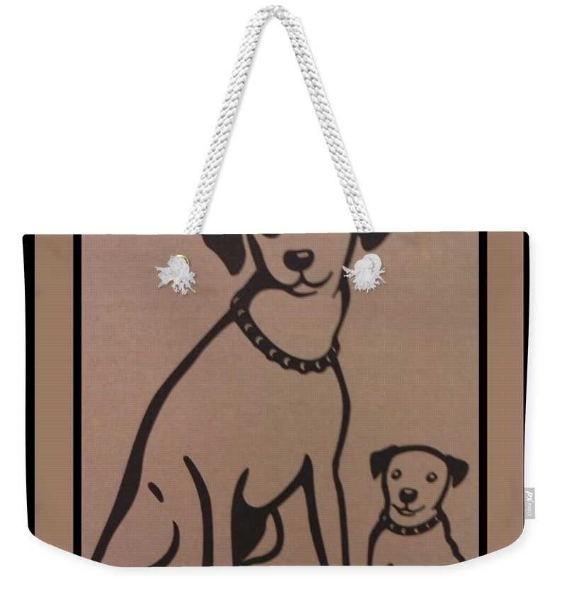 His Masters Voice Weekender Tote Bag featuring the photograph His Masters Voice - Nipper And Chipper by Rob Hans