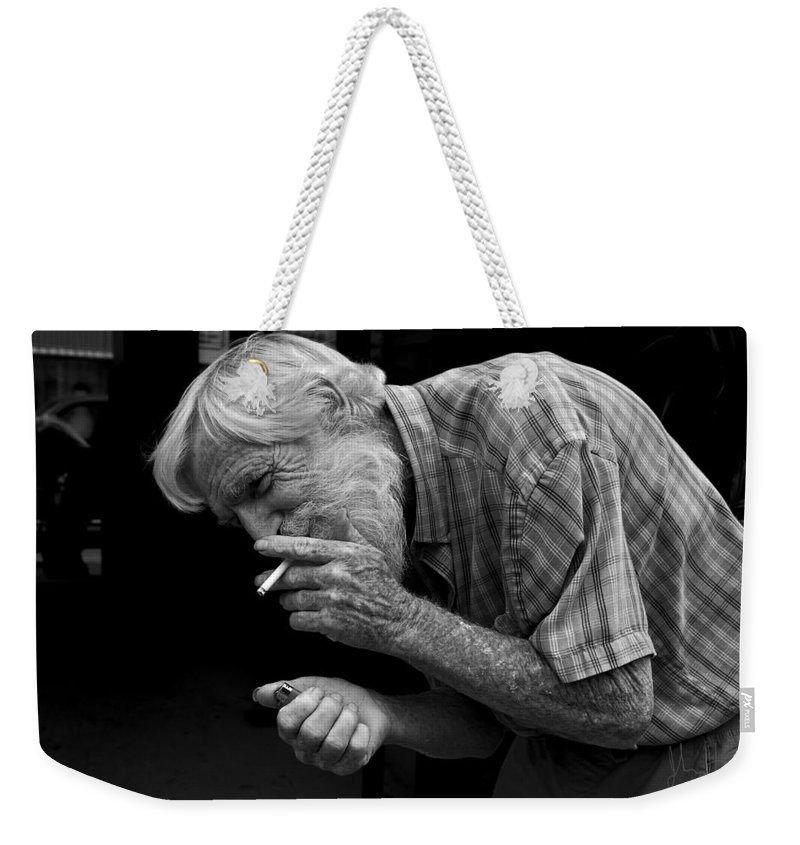 Acrylic Prints Weekender Tote Bag featuring the photograph His Name Is Bow by John Herzog