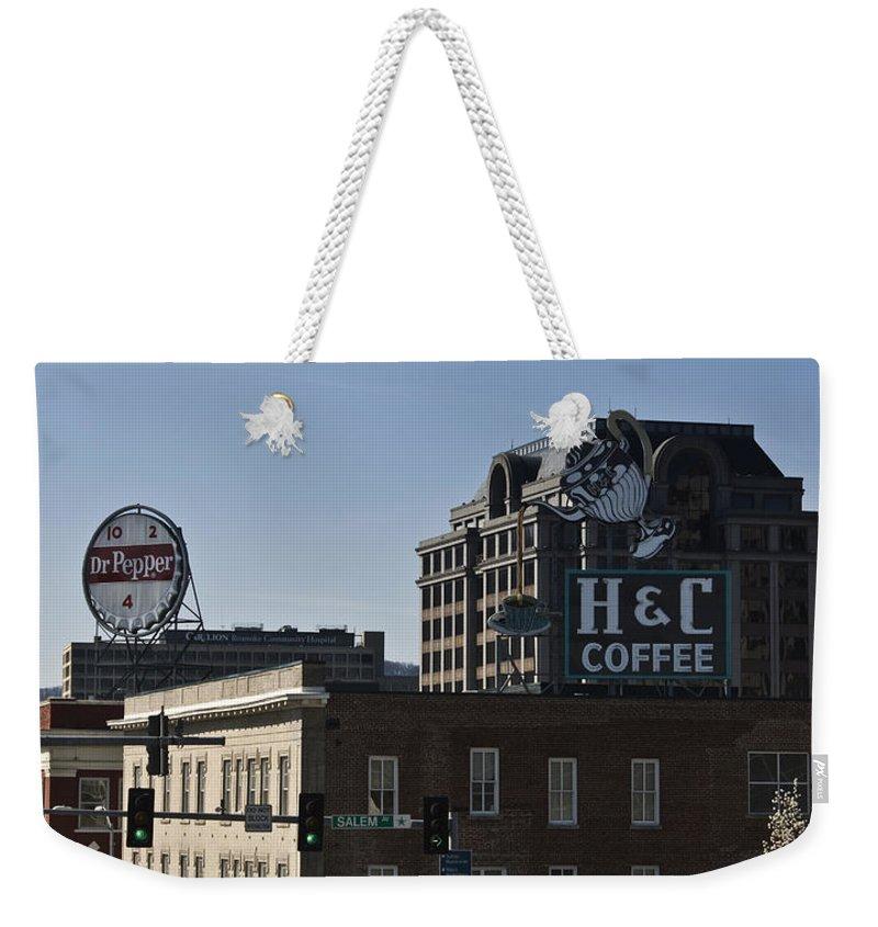 Roanoke Weekender Tote Bag featuring the photograph Historic Landmark Signs Roanoke Virginia by Teresa Mucha