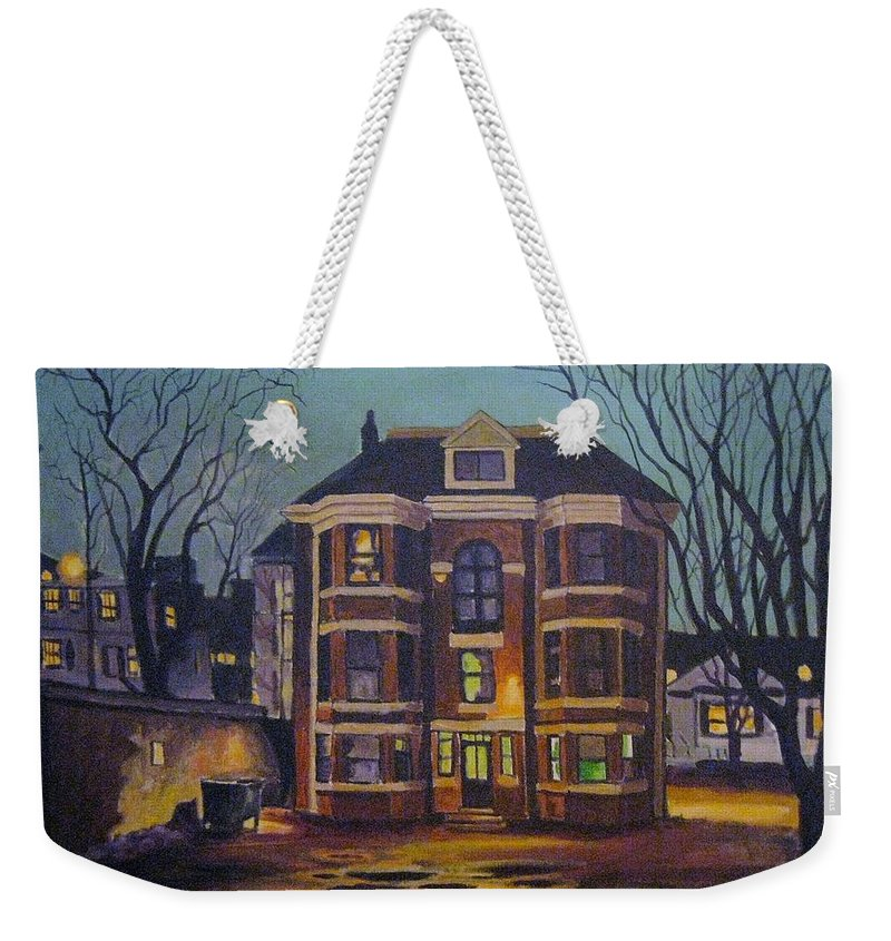 Moody Weekender Tote Bag featuring the painting Historic Property South End Haifax by John Malone