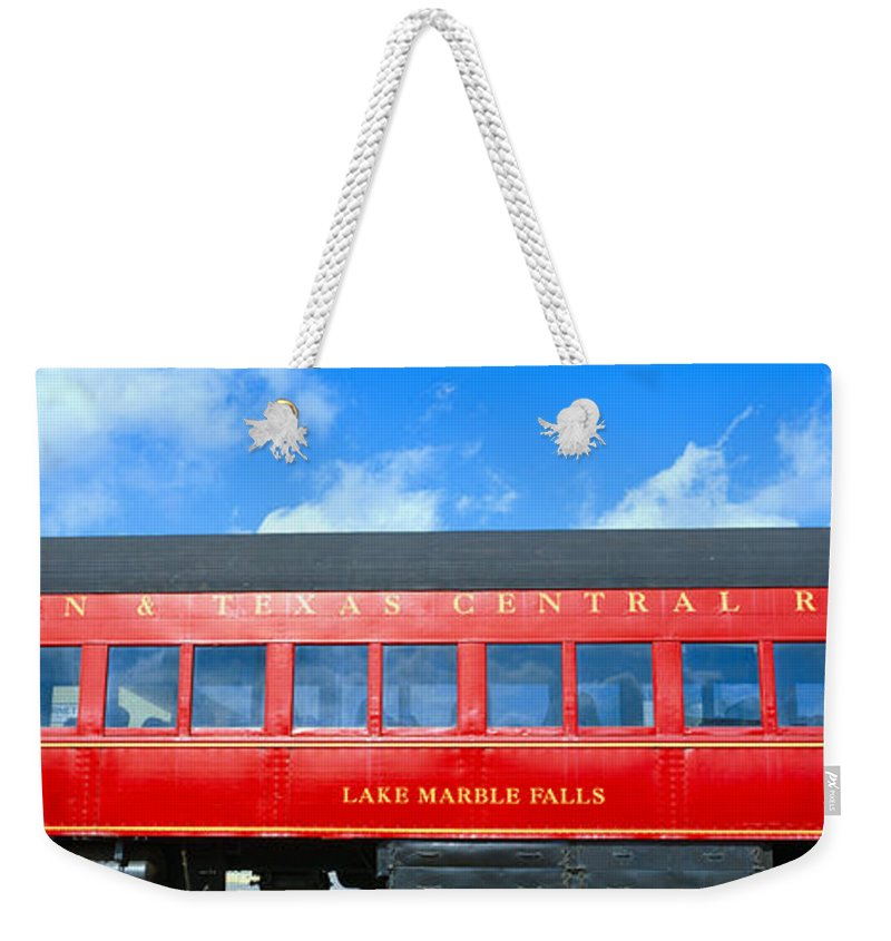 Photography Weekender Tote Bag featuring the photograph Historic Red Passenger Car, Austin & by Panoramic Images