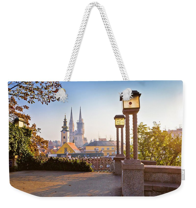Zagreb Weekender Tote Bag featuring the photograph Historic Zagreb Towers Sunrise View by Brch Photography