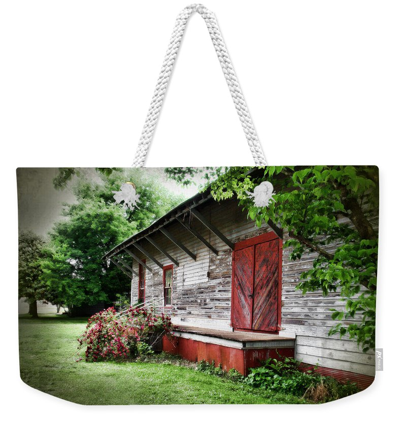 Train Weekender Tote Bag featuring the photograph Historical Train Station In Belle Mina Alabama by Kathy Clark