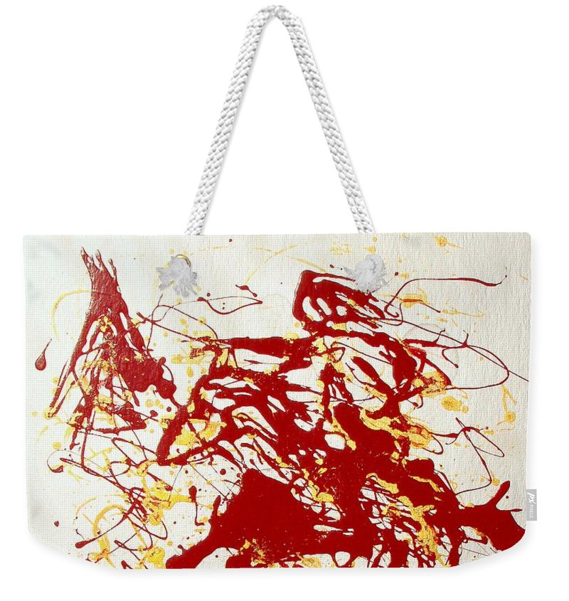 Indian Weekender Tote Bag featuring the painting History In Blood by J R Seymour