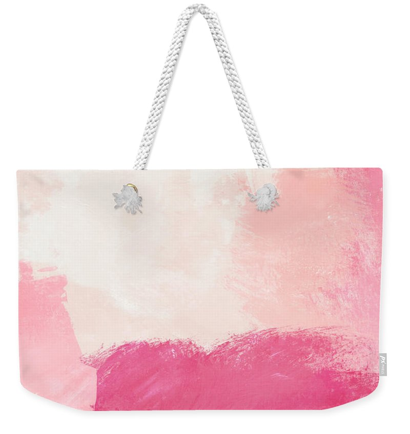 Abstract Weekender Tote Bag featuring the mixed media History of Pink- Abstract Art by Linda Woods by Linda Woods