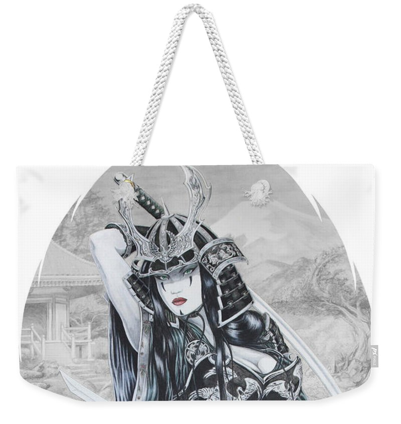 Femme Fatale Weekender Tote Bag featuring the drawing Hisuiko by Kristopher VonKaufman