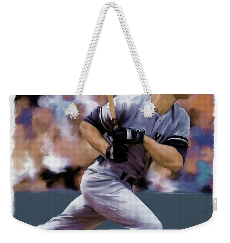 Don Mattingly Weekender Tote Bag featuring the painting Hit Man Don Mattingly by Iconic Images Art Gallery David Pucciarelli