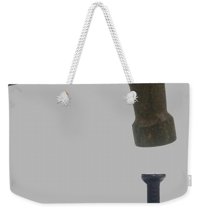 Hit The Nail On The Head; Do Exactly The Right Thing; To Do Something; In The Most; Effective; Efficient; Way; Hammer; Nail; Hitting; Idiom; Concept; Single Object; Cutout; Cut Out; Silo; Isolated; Knock Out; White Background; Psi; Idr Weekender Tote Bag featuring the photograph Hit The Nail On The Head - Idiom by Ilan Rosen