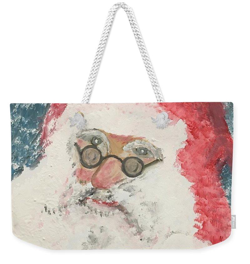 Santa Weekender Tote Bag featuring the painting Ho Ho Ho Santa by Soarts Paintings and Photography