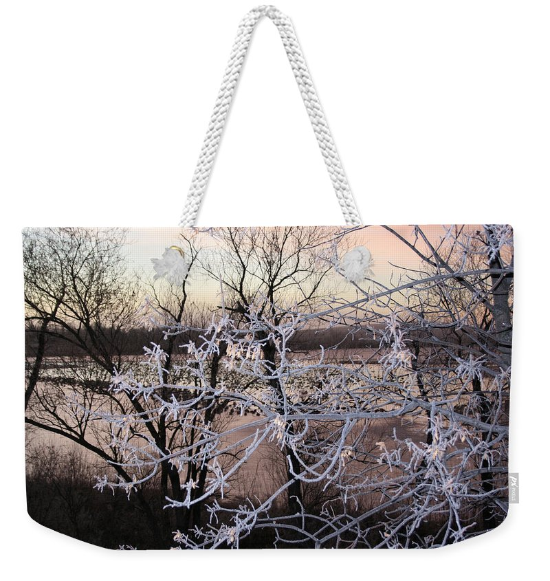 Hoar Frost Trees Lake Water Autumn Winter Ice White Cold Weekender Tote Bag featuring the photograph Hoar Frost by Andrea Lawrence