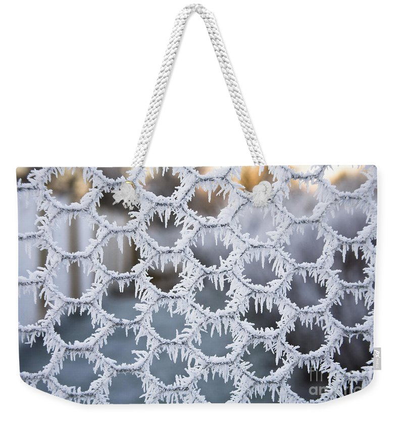 Hoar Frost Weekender Tote Bag featuring the photograph Hoar Frost by Diane Macdonald