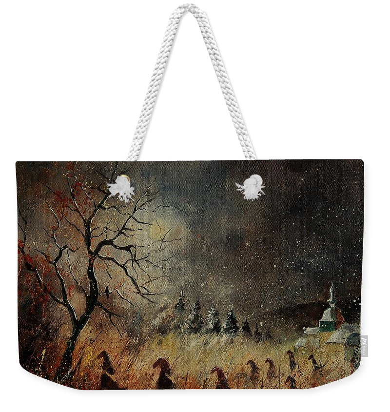 Phantasy Weekender Tote Bag featuring the painting Hobglobins At Night by Pol Ledent