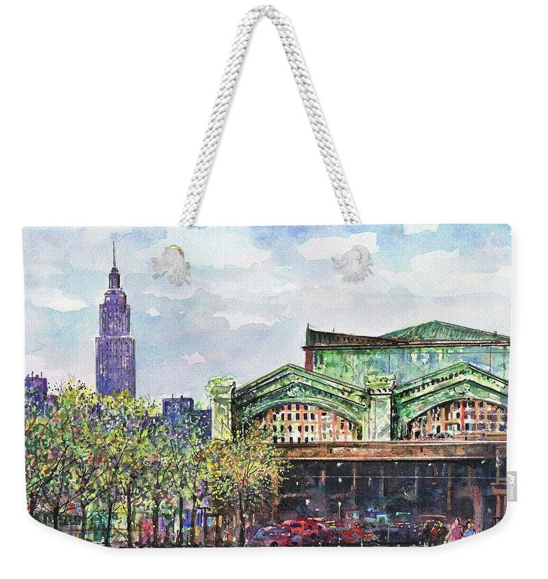 Hoboken Weekender Tote Bag featuring the painting Hoboken Train Station by Franco Puliti