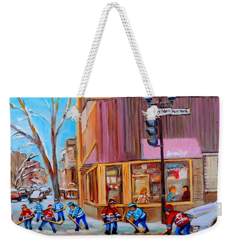 Beautys Luncheonette. Weekender Tote Bag featuring the painting Hockey At Beautys Deli by Carole Spandau