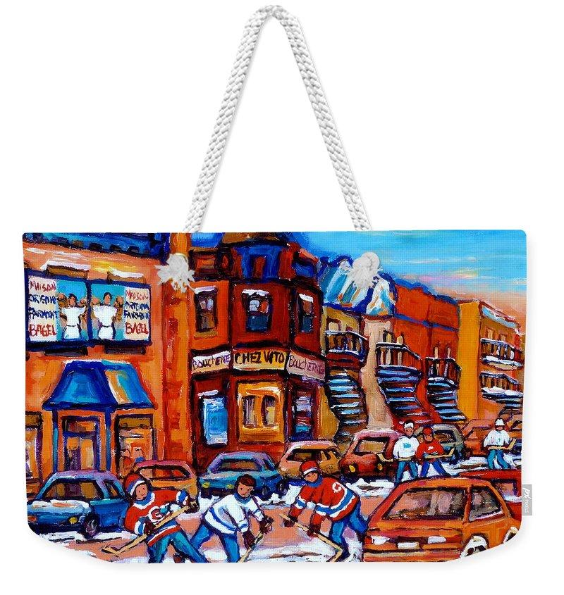 Fairmount Bagel Weekender Tote Bag featuring the painting Hockey At Fairmount Bagel by Carole Spandau