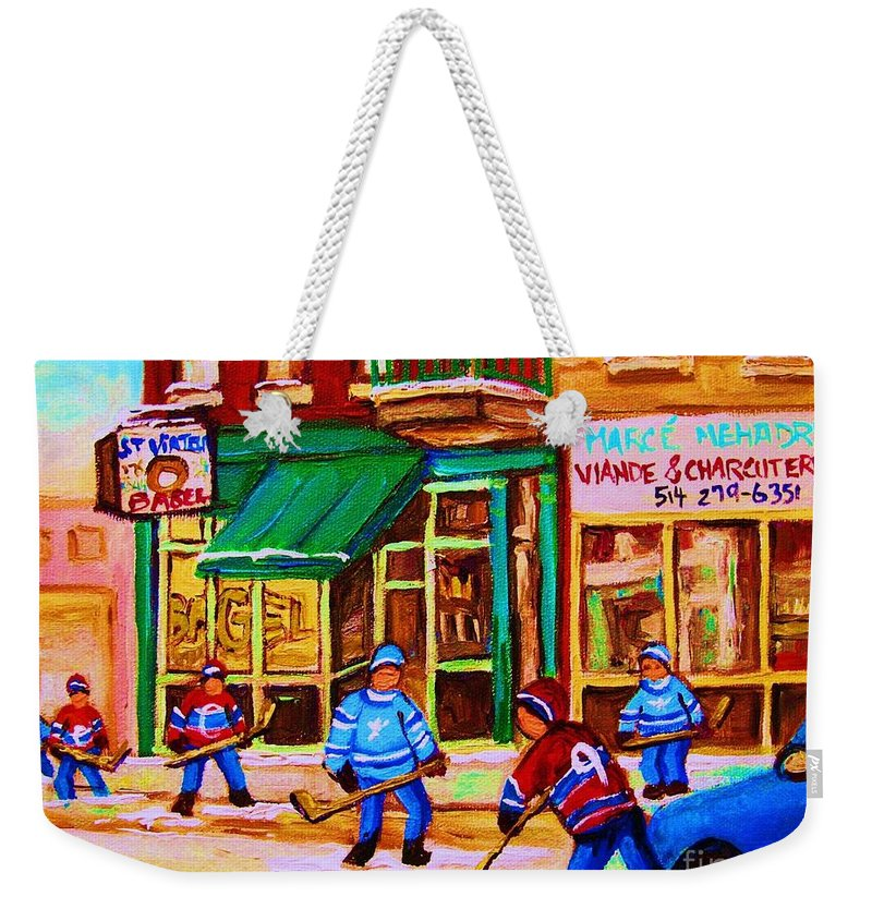 Hockey Art Weekender Tote Bag featuring the painting Hockey At Mehadrins by Carole Spandau