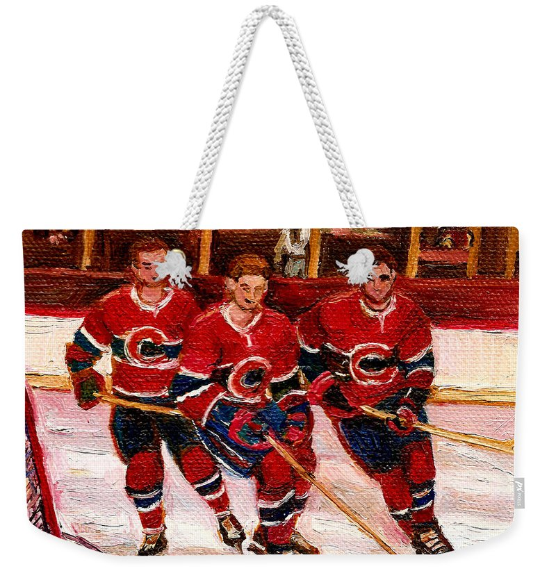 Hockey Art Weekender Tote Bag featuring the painting Hockey At The Forum by Carole Spandau