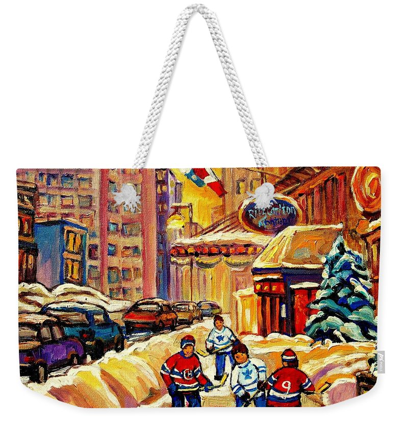 Ritz Carlton Weekender Tote Bag featuring the painting Hockey Fever Hits Montreal Bigtime by Carole Spandau