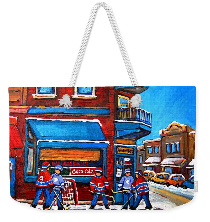 Hockey Game At Wilensky's Weekender Tote Bag featuring the painting Hockey Game At Wilensky's by Carole Spandau