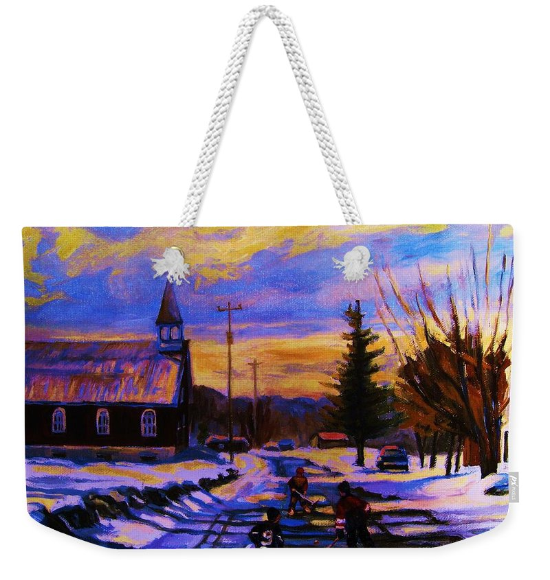 Montreal Weekender Tote Bag featuring the painting Hockey Game In The Village by Carole Spandau