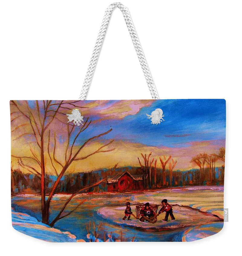 Pond Hockey Weekender Tote Bag featuring the painting Hockey Game On Frozen Pond by Carole Spandau