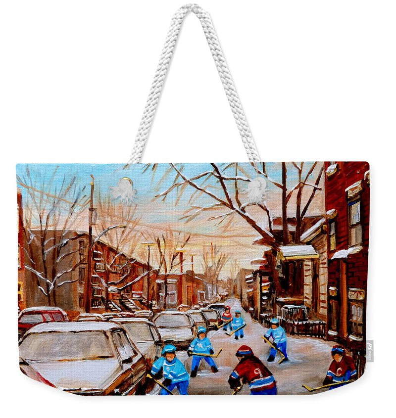 Montreal Weekender Tote Bag featuring the painting Hockey Gameon Jeanne Mance Street Montreal by Carole Spandau