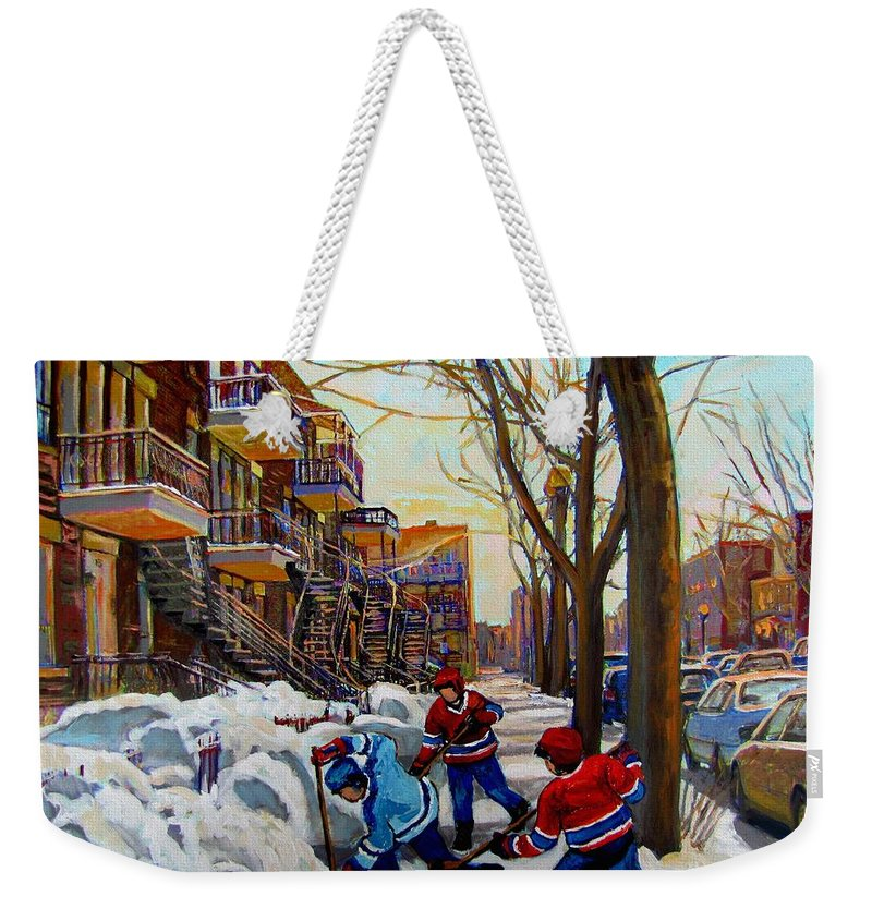 Hockey Canvas Prints Weekender Tote Bag featuring the painting Hockey On De Bullion by Carole Spandau