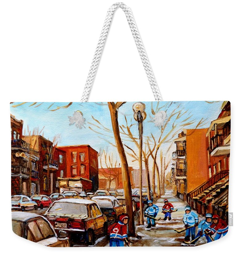 Hockey Weekender Tote Bag featuring the painting Hockey On St Urbain Street by Carole Spandau