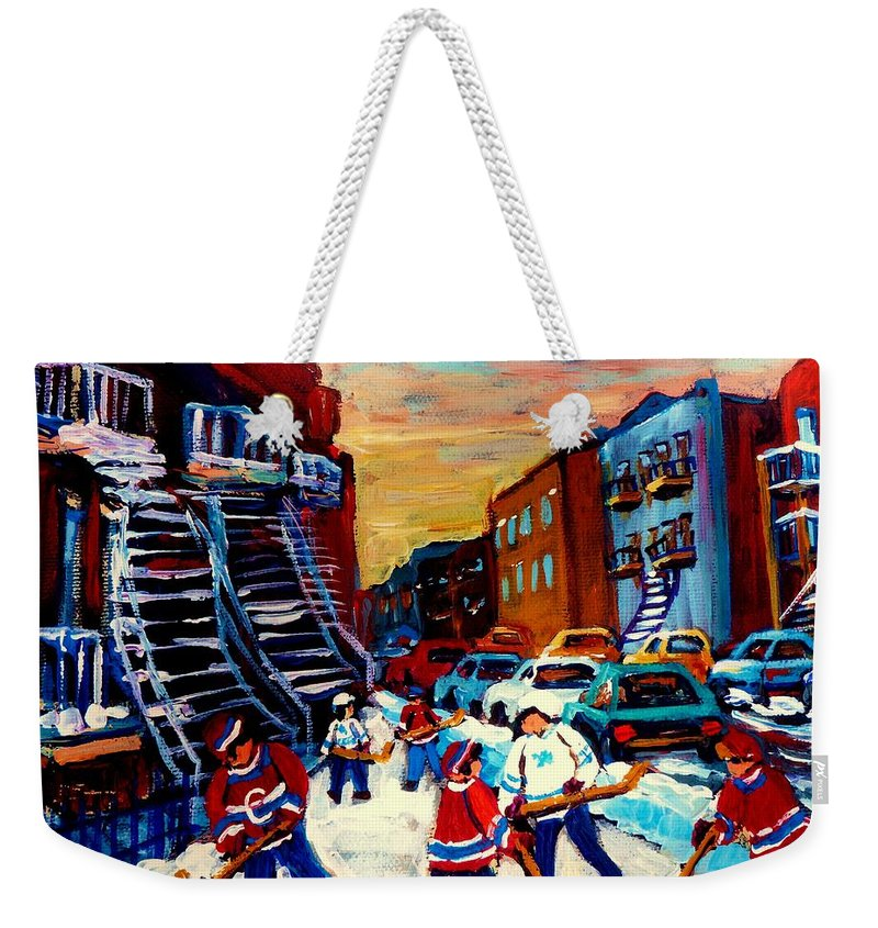 Montreal Weekender Tote Bag featuring the painting Hockey Paintings Of Montreal St Urbain Street City Scenes by Carole Spandau